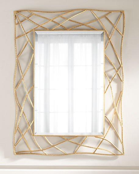 Gold Geometric Frame Mirror