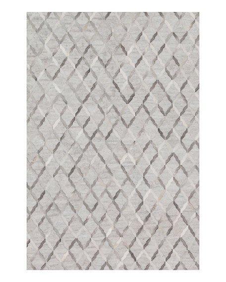 Excellent Diamond Pattern Silver Hairhide Rug KL65