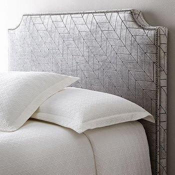 Patterned Nailhead Upholstered Grey Headboard