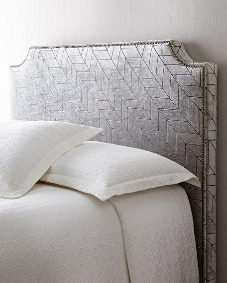 geometric pattern nailhead trim headboard, Headboard designs