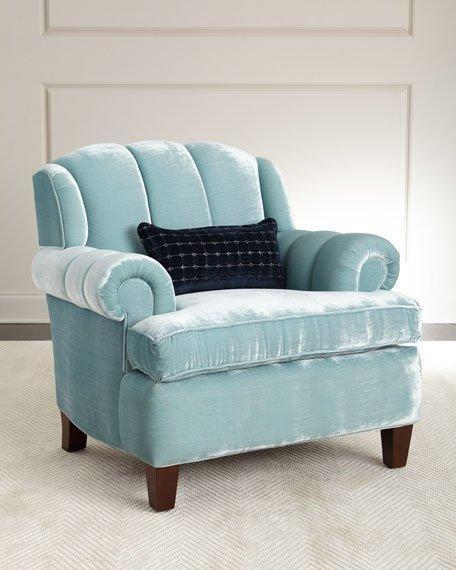 Blue Velvet Channel Tufted Roll Arm Chair