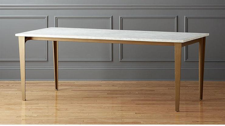 White Carrara Marble Rectangular Brass Legs Dining Table