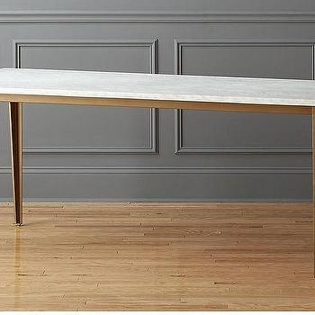 Parsons White Marble Brass Dining Table