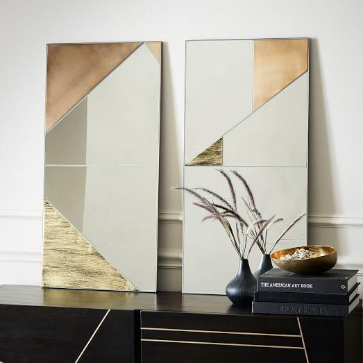 Gold Metal and Mirror Panels Wall Art
