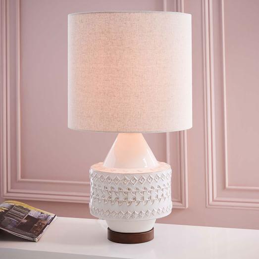 Concrete Diamond White Accent Lamp Base