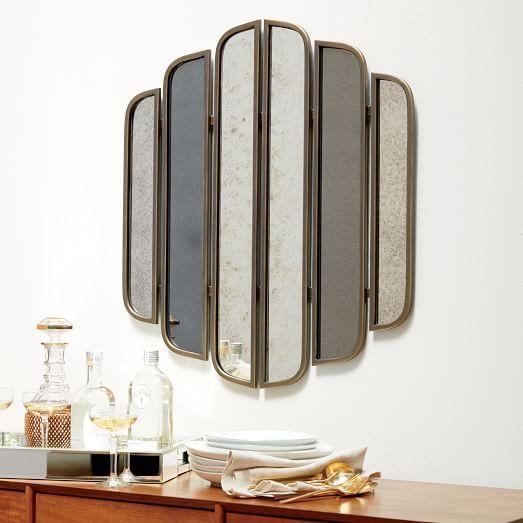 Antique Brass Frame Linear Mirror Wall Art, Vintage Brass Mirror Wall Hanging