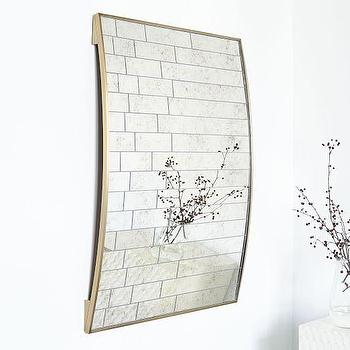 antique mirror linear gold frame arched wall art
