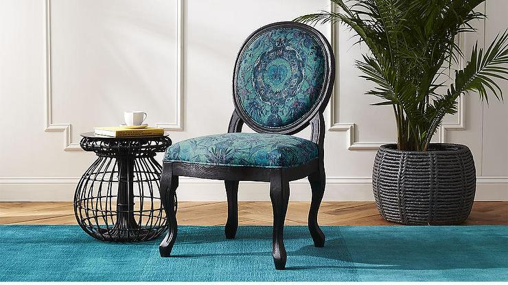 Pleasing Blue Nature Motif Upholstered Cabriole Legs Dining Chair Gamerscity Chair Design For Home Gamerscityorg