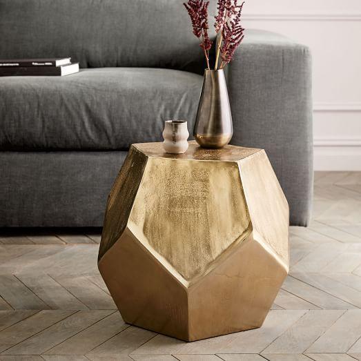 Gold Facet Gem Cut Side Table - West elm gold side table