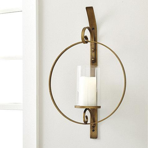Circular Wall Sconce Candle Holder : Round Brass Glass Candle Wall Sconce