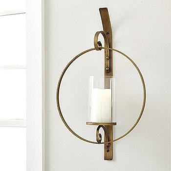 round brass glass candle wall sconce