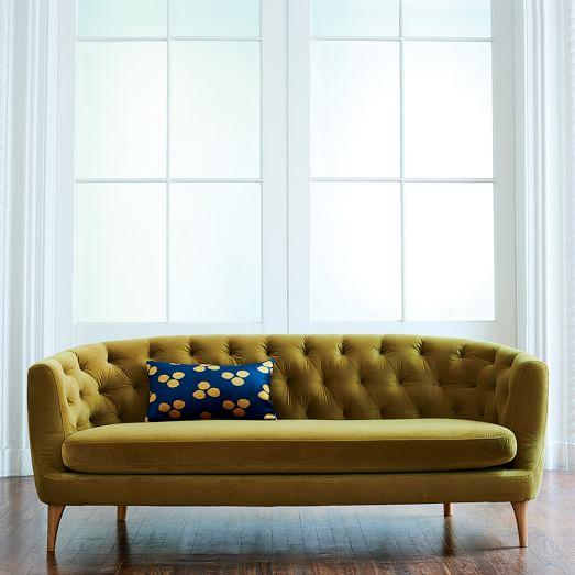 Green Avec Sofa With Brass Legs