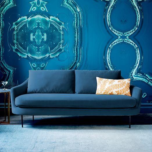 Tatiana Curved Blue Velvet Sofa