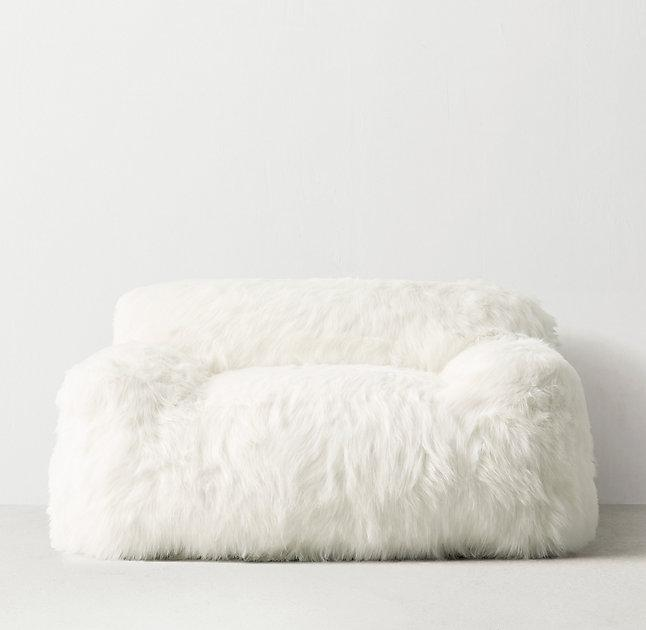 Kashmir Dusty Rose Faux Fur Bean Bag