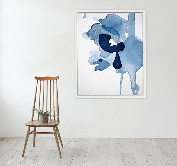 Blue Hued Abstract Watercolor Framed Graphic Frame