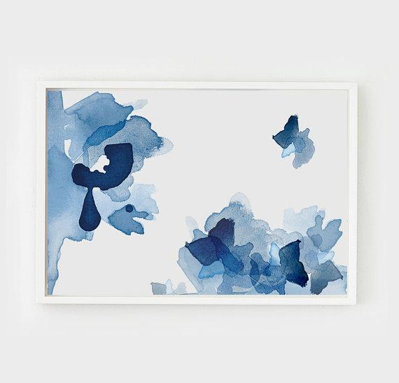 Blue Abstract Wall Decor : Golden agate rose tone wall art