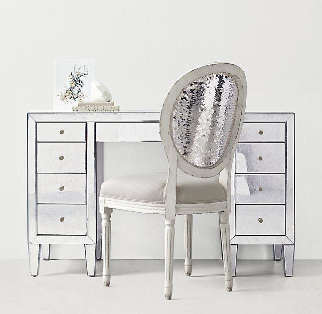 Drawer Mirrored Storage Desk