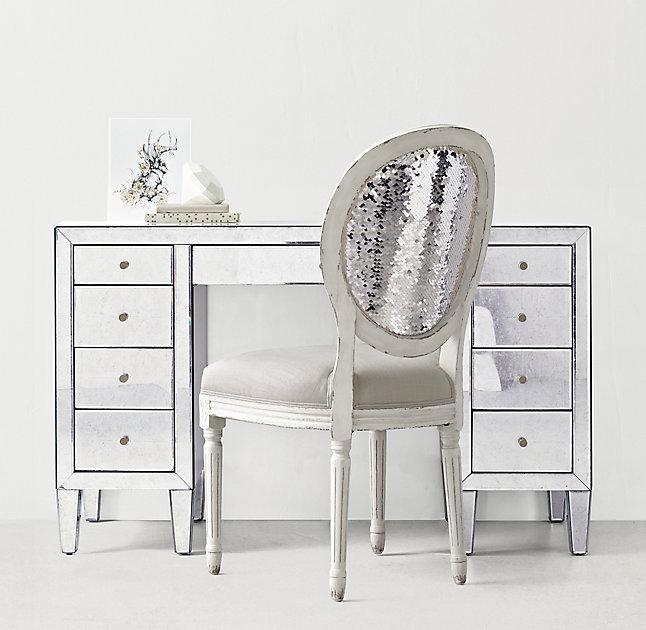 Nine Drawer Mirrored Storage Desk