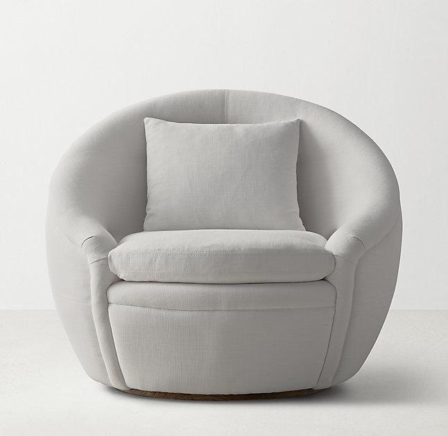 & Round Gray Velvet Swivel Chair