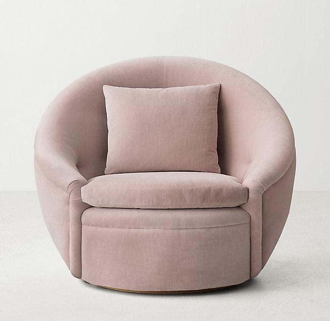 Sensational Round Pink Velvet Swivel Chair Dailytribune Chair Design For Home Dailytribuneorg