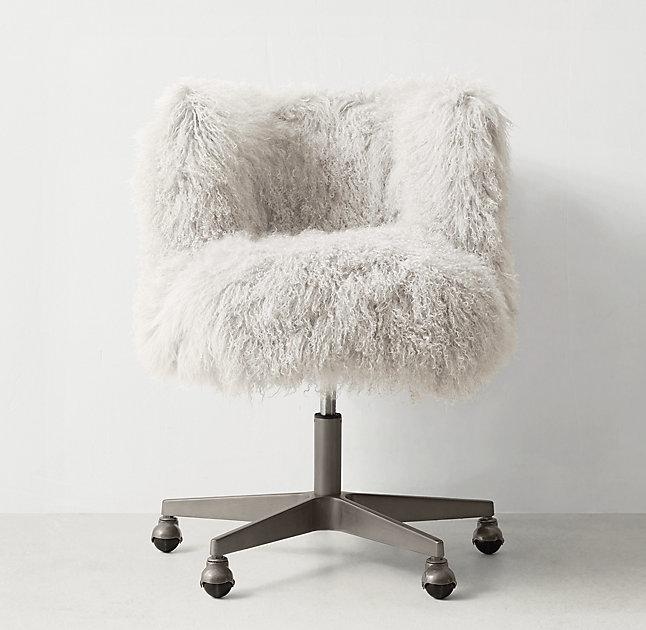 Off White Shaggy Silver Rollers Desk Chair