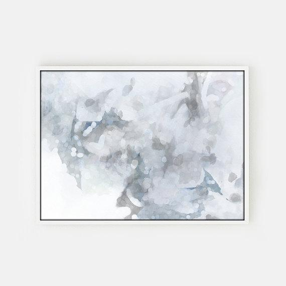 Gray And White Abstract Unstretched Canvas Art