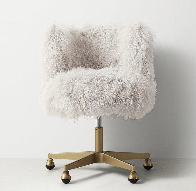 White Faux Fur Acrylic Legs Desk Chair