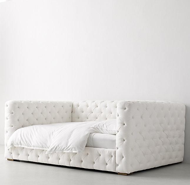 All Around Button Tufted White Daybed