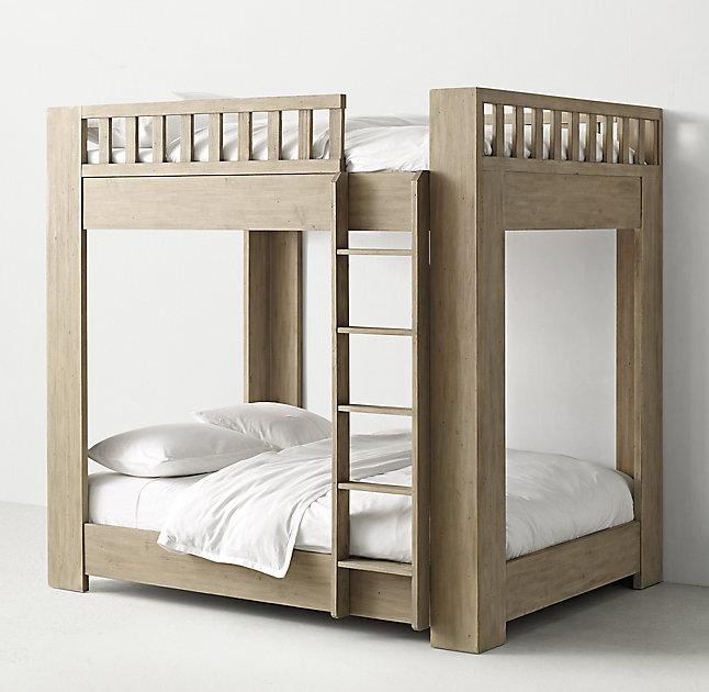 Chesterfield Upholstered FullOverFull Grey Bunk Bed