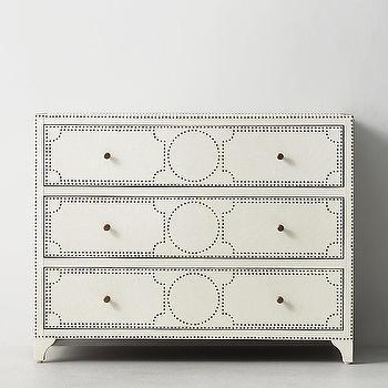 Ivory Nailhead Embellished Three Drawer Dresser
