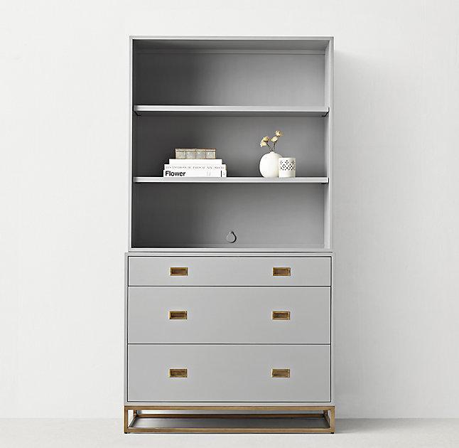 Gray Tall Hutch Dresser View Full Size