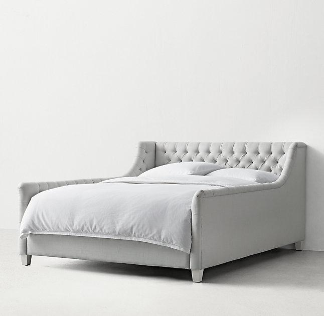 white upholstered frame tufted co gray queen dark bed nexspace view