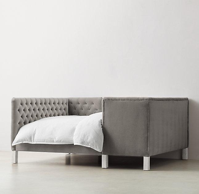 Gray Tufted Tete A Tete Velvet Bed
