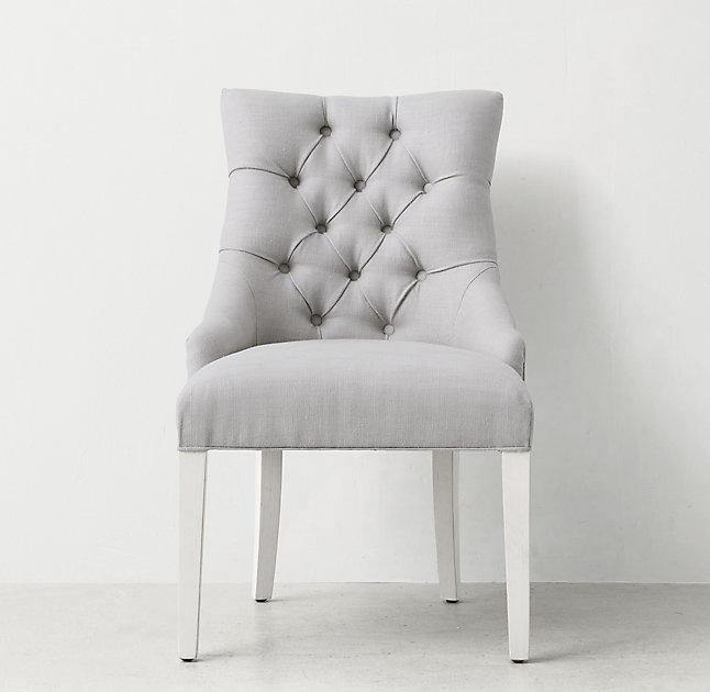 Nice Light Gray Button Tufted Desk Chair