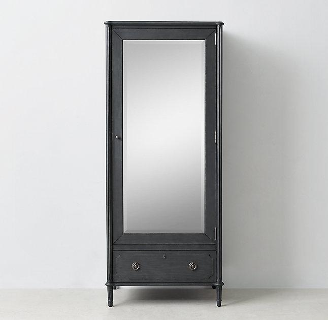 black mirrored door single armoire view full size antiqued mirrored doors view full size