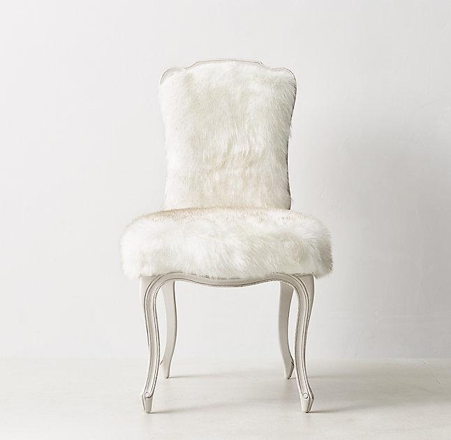 white faux fur chair White Faux Fur Cabriole Legs French Desk Chair white faux fur chair