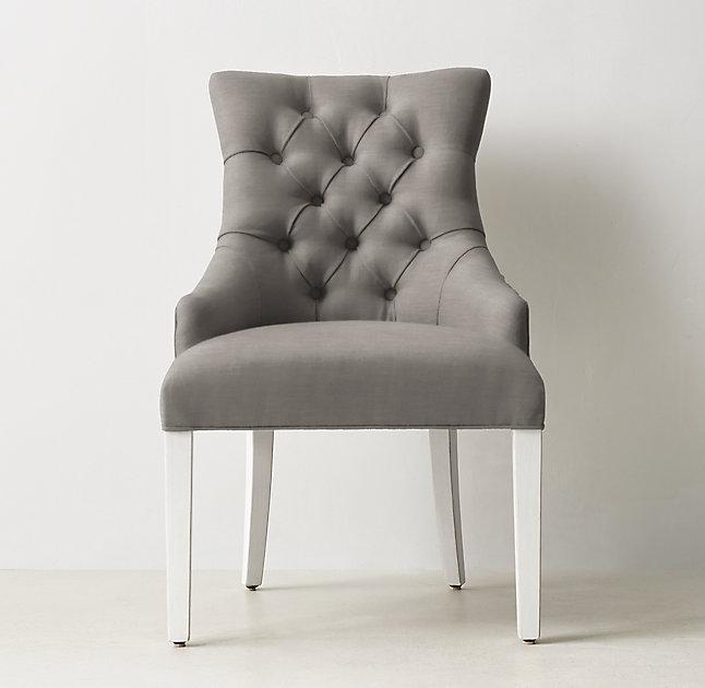 Gray Button Tufted Velvet White Legs Desk Chair