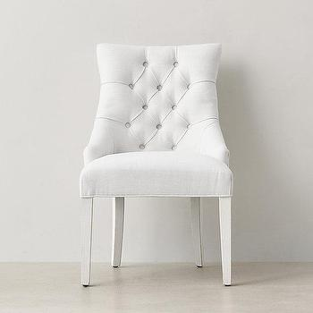 all white button tufted upholstered desk chair