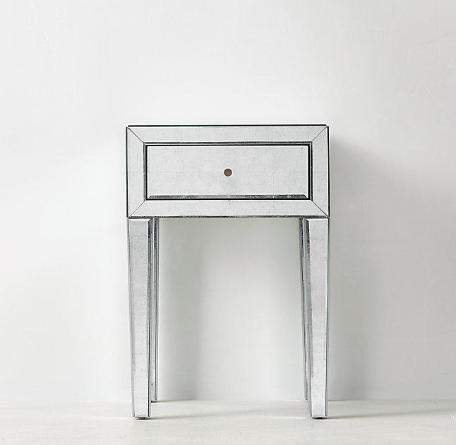 Amazing One Drawer Mirrored Side Table
