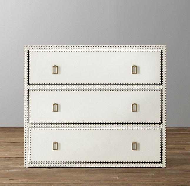 Lovely Paloma White Leather Studded Dresser DG23