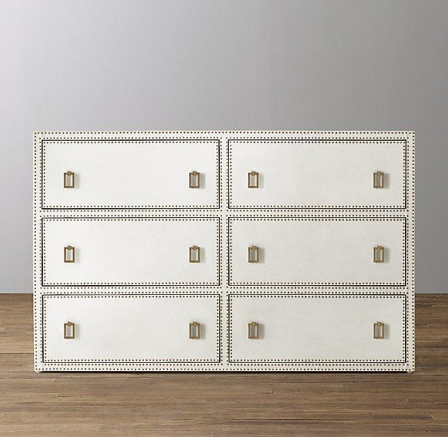 Unique Paloma Wide White Leather Dresser JP82