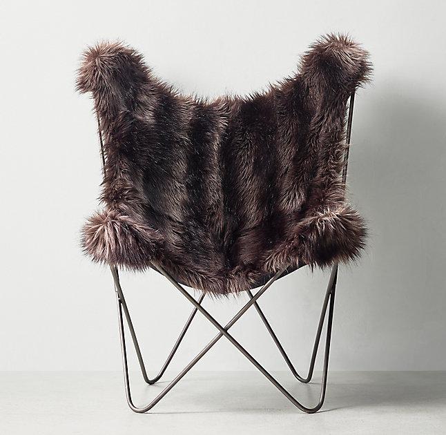 Black Faux Fur Sculptural Frame Butterfly Chair