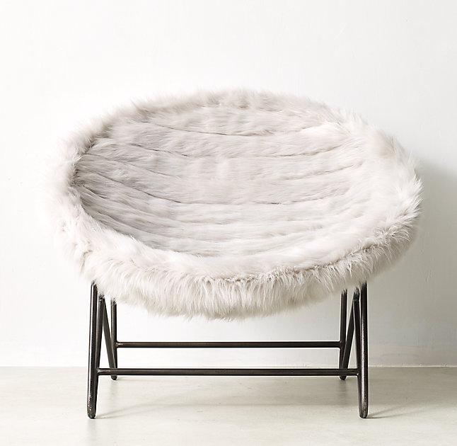 Round White Faux Fur Lounge Chair