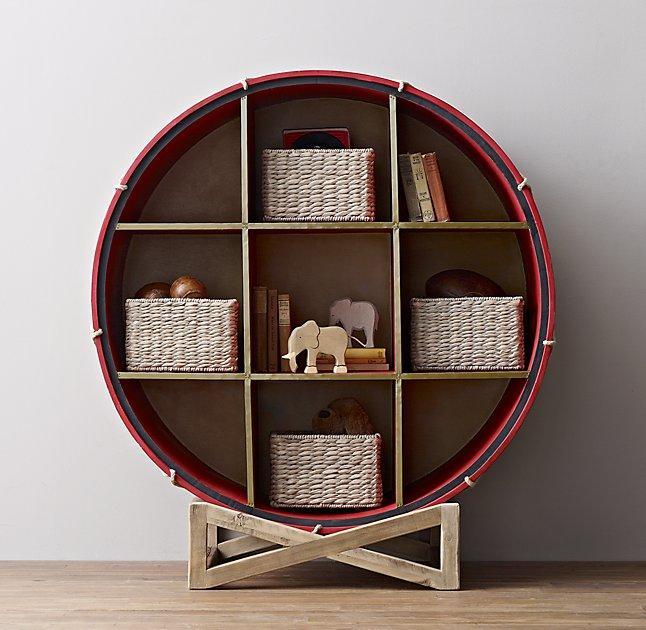 19th Century British Drum Wood Bookcase