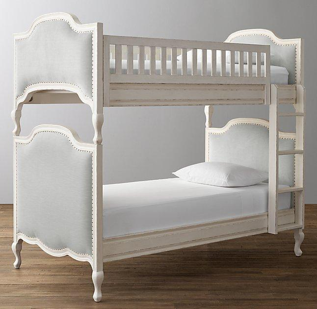 white and gray upholstered bunk bed view full size