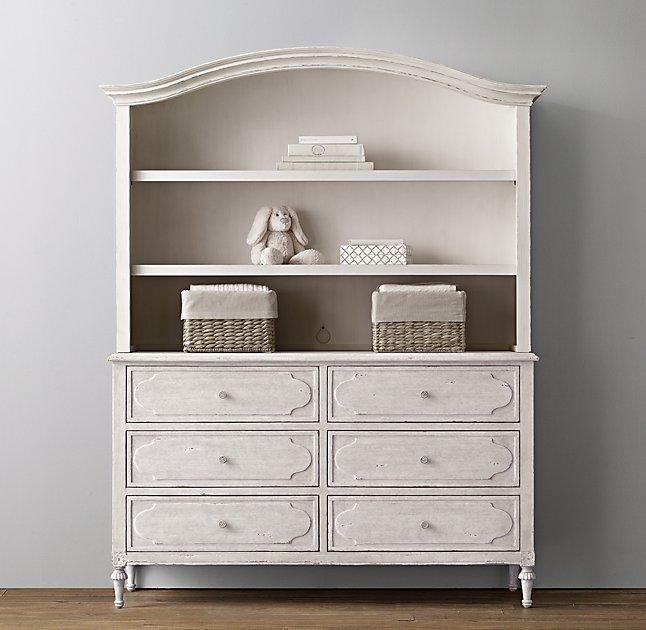 Bellina Wide Heirloom White Dresser Bookcase Hutch Set