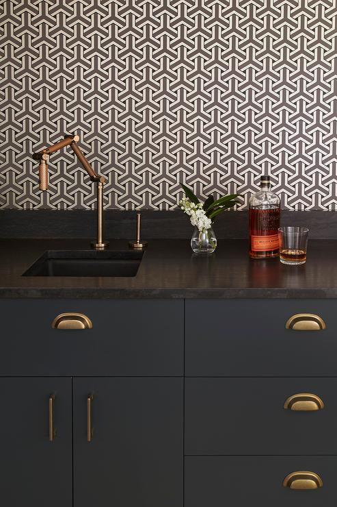 Black Bar Cabinets with Brass Cup Pulls - Contemporary - Kitchen
