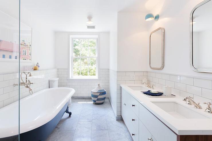 Navy Blue Claw Foot Bathtub - Transitional - Bathroom