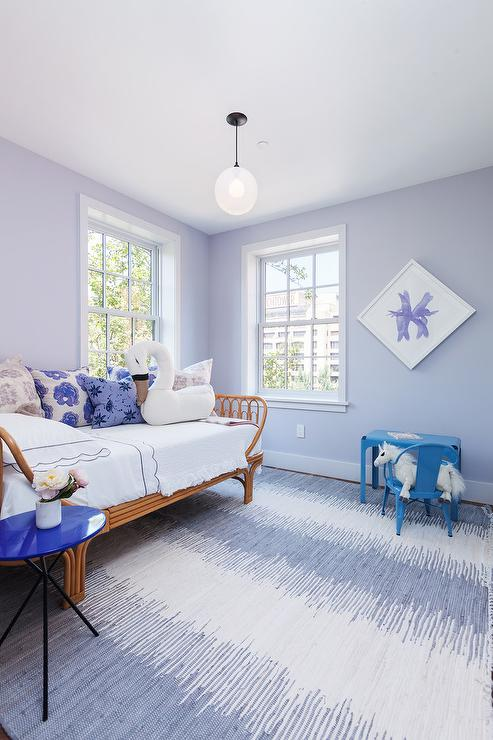 Blue And Lavender Girl Bedroom With Wicker Daybed