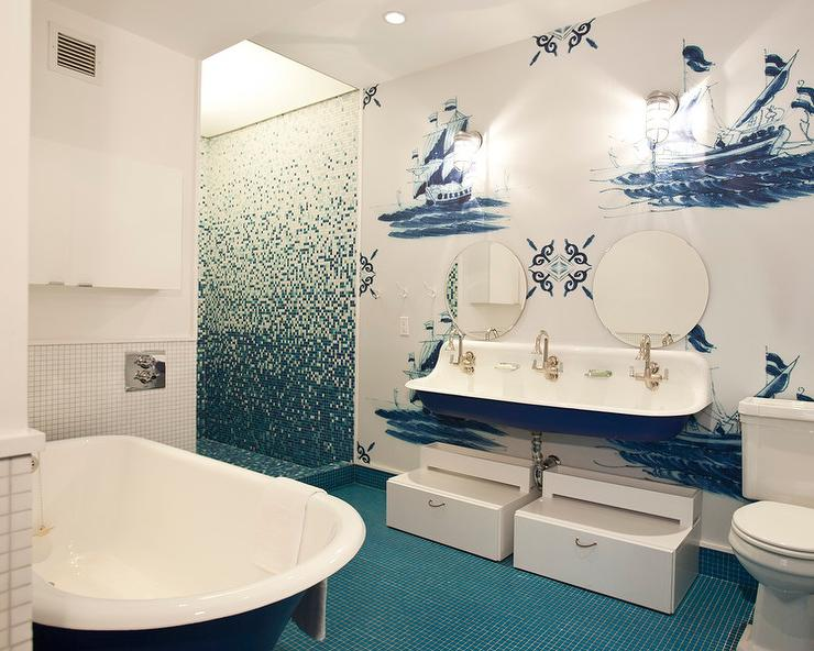 Blue Nautical Themed Kids Bathroom With Blue Trough Sink